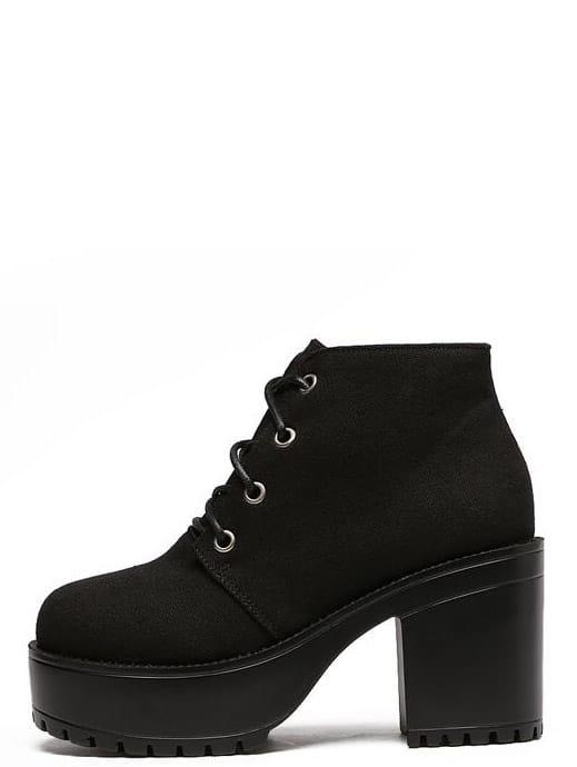 a5a5e98ae7 Black Canvas Lace Up Platform Boots | SHEIN