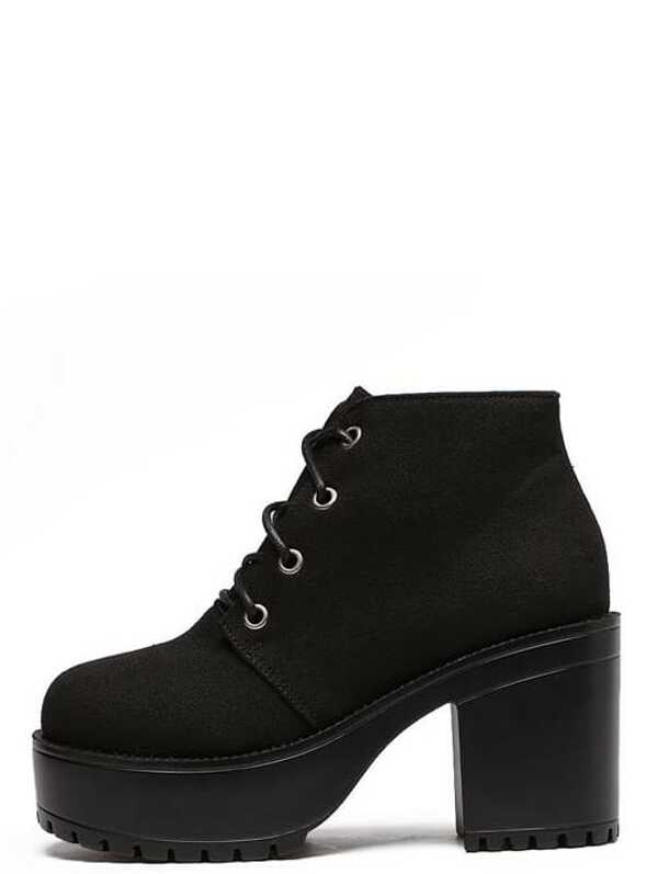 3fd29a1dd70 Black Canvas Lace Up Platform Boots
