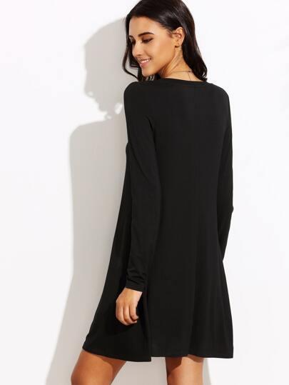 Black Long Sleeve T-shirt Dress -SheIn(Sheinside)