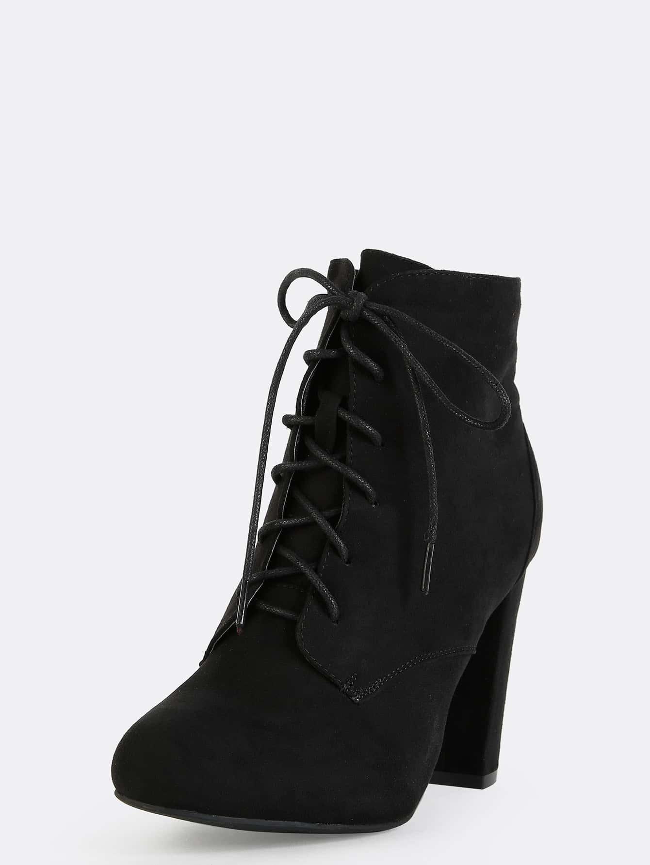 chunky heel faux suede boots black shein sheinside