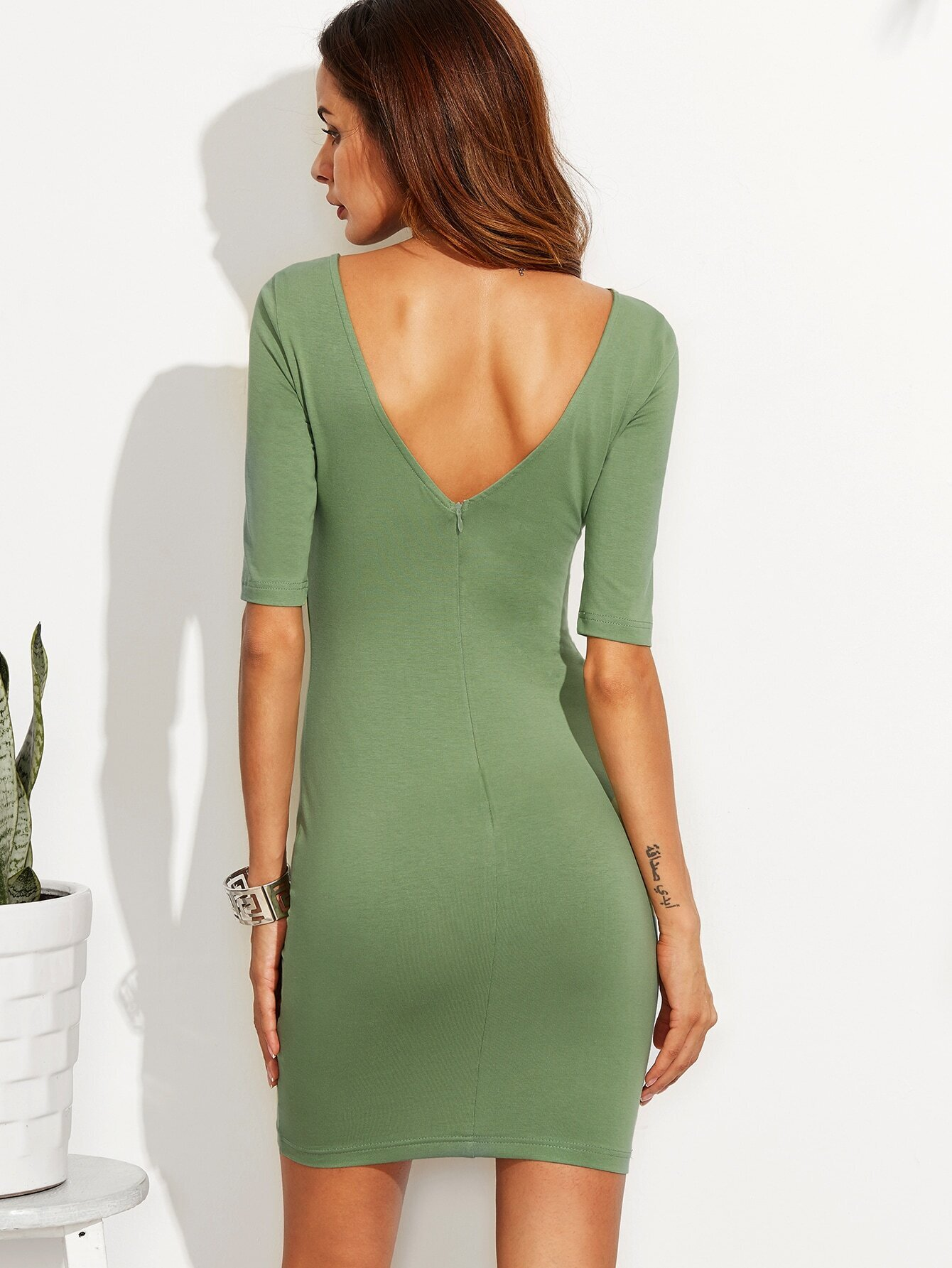 Green V Back Bodycon Dress