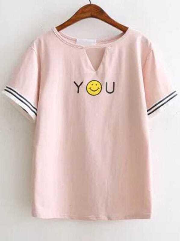 21b9c2e112 Cheap Pink Smile Face Print Cut Out Fringe Detail T-Shirt for sale  Australia | SHEIN