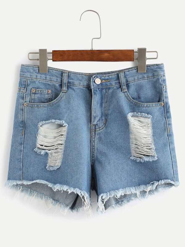 3800700e54d3 Ripped Frayed Hem Denim Shorts   SHEIN