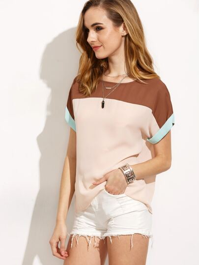 Colorblock Short Sleeve Blouse