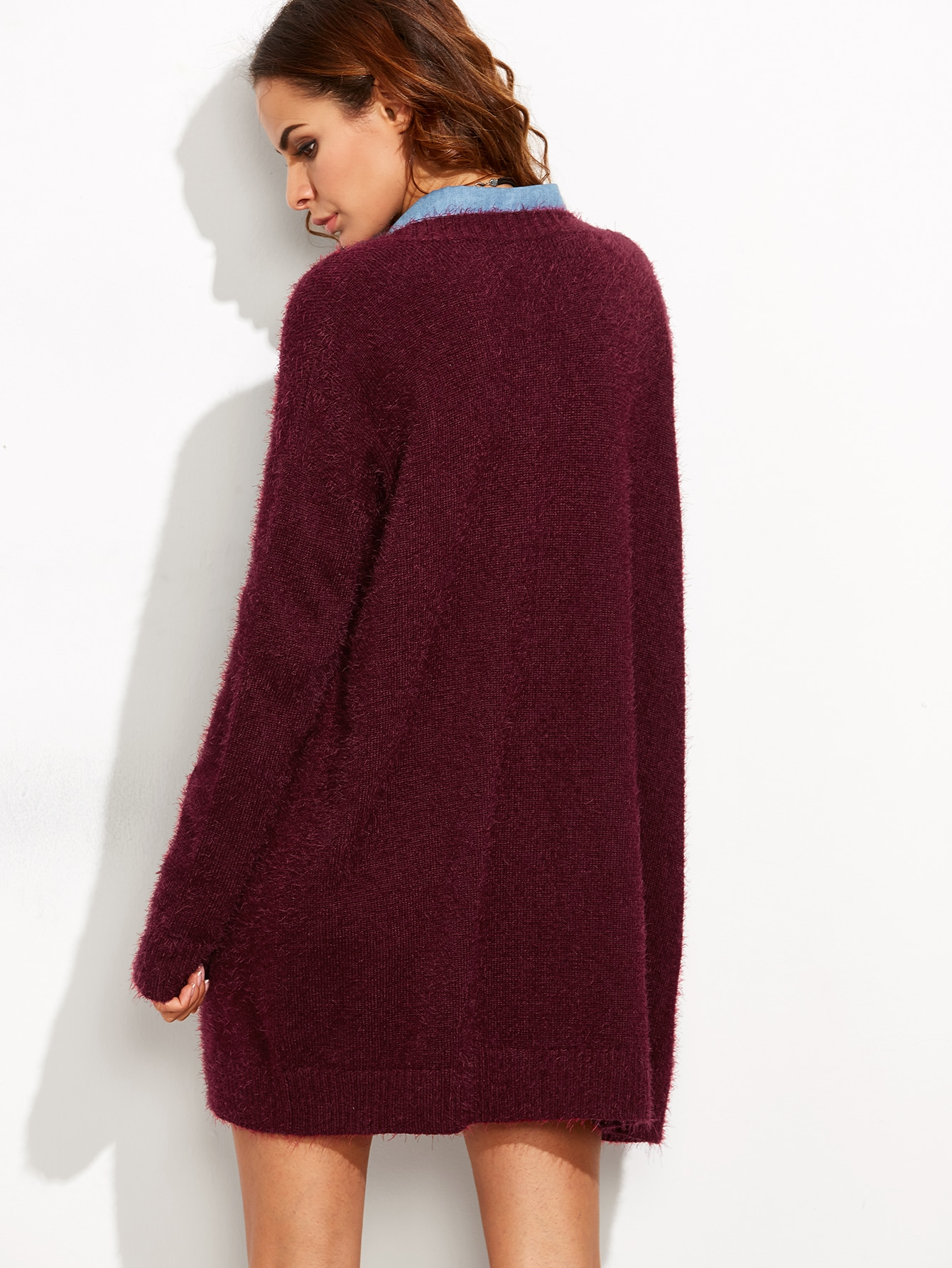 Burgundy Open Front Fluffy Sweater Coat With Pockets Sheinsheinside Tendencies Short Shirts Basic Long Collar Less Wine S