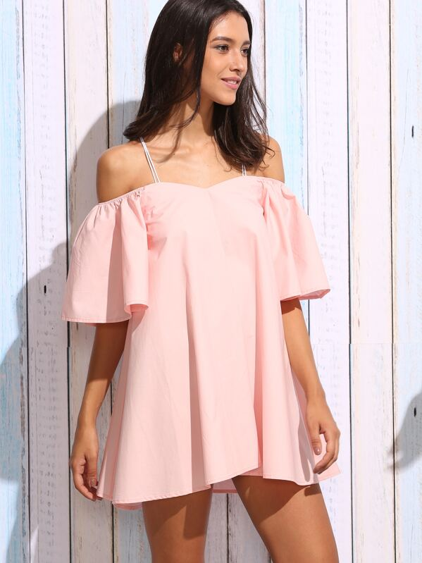 be8031d65c8cc Robe épaules nues manches larges - rose-French SheIn(Sheinside)