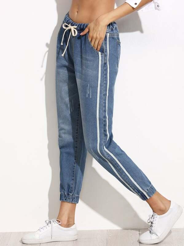 0cfbe34392 Cheap Side Stripe Elastic Cuff Jeans for sale Australia   SHEIN