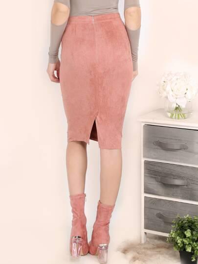 Pink Suede Pencil Skirt -SheIn(Sheinside)