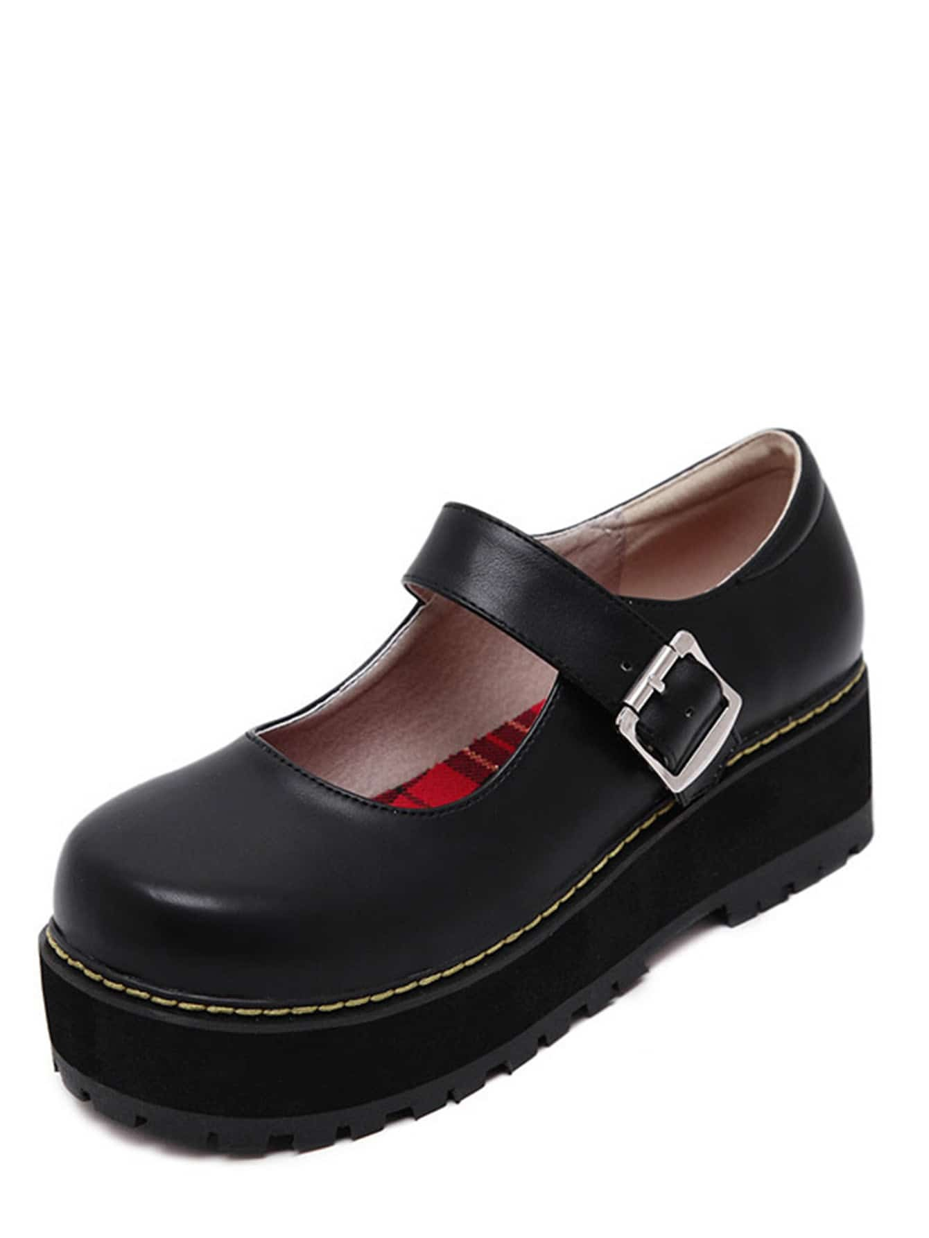 black faux leather shoes shein sheinside