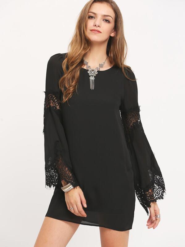 8f25601add Black Long Sleeve With Lace Dress | SHEIN UK