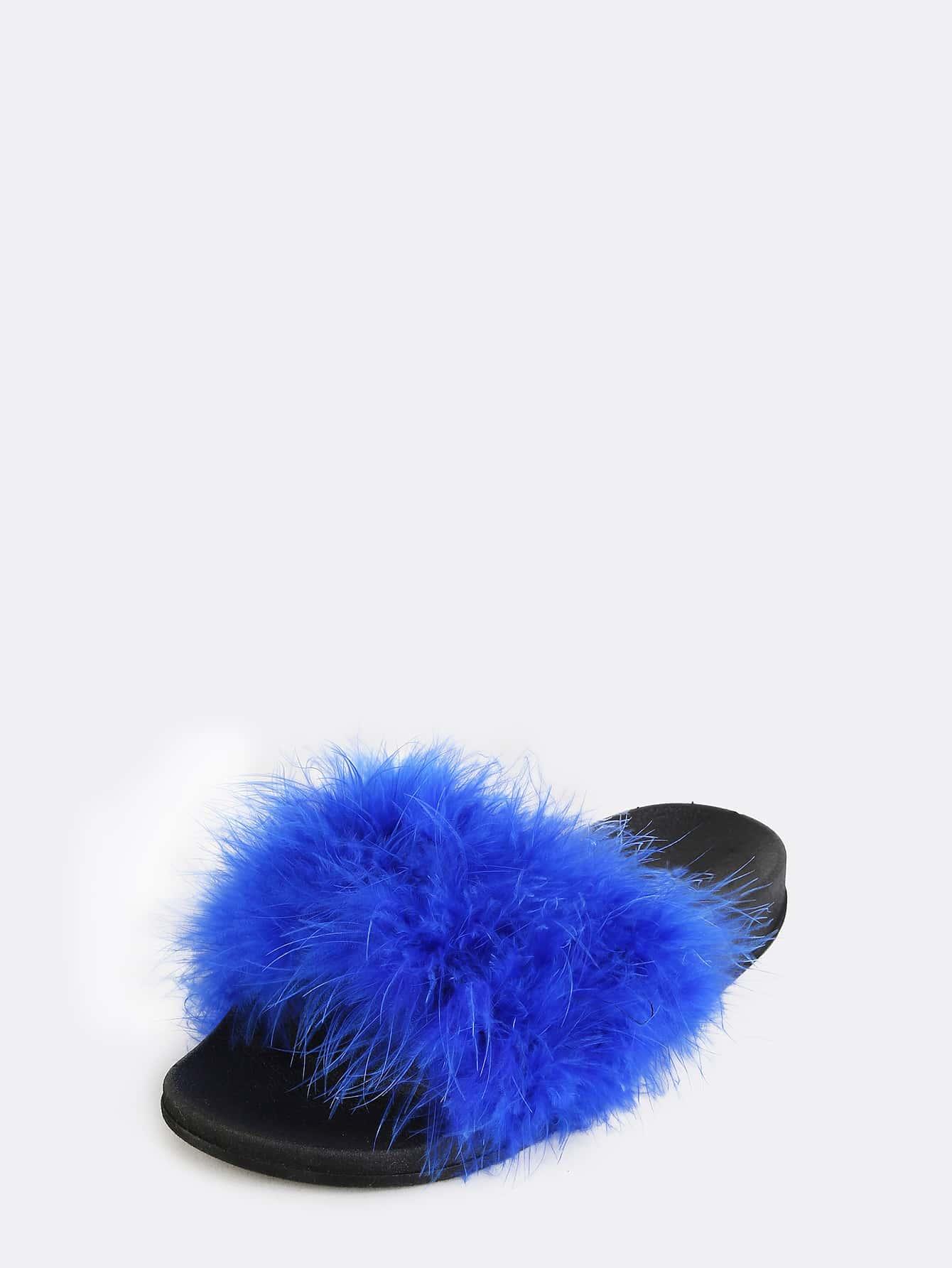 Contrast Feather Slide Sandals Royal Blue Shein Sheinside
