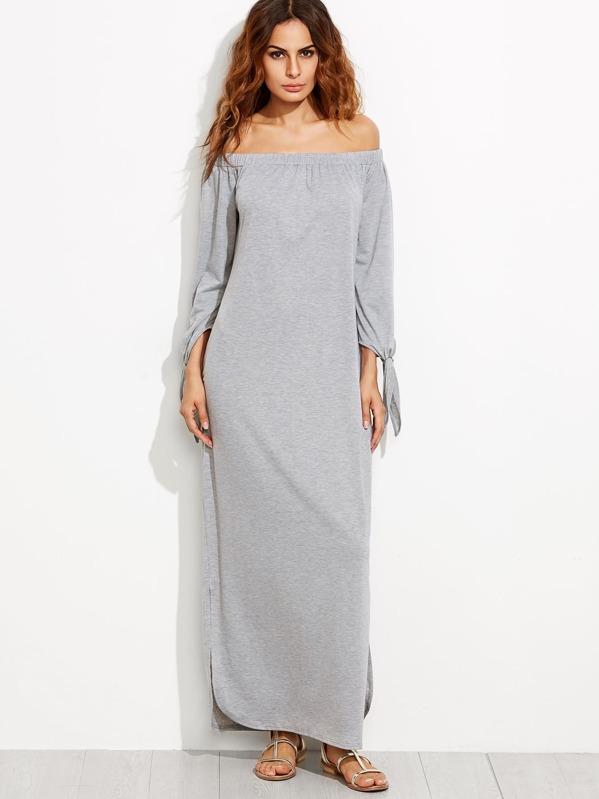 9270bd65eb Bardot Tie Sleeve Split Maxi Dress | SHEIN UK