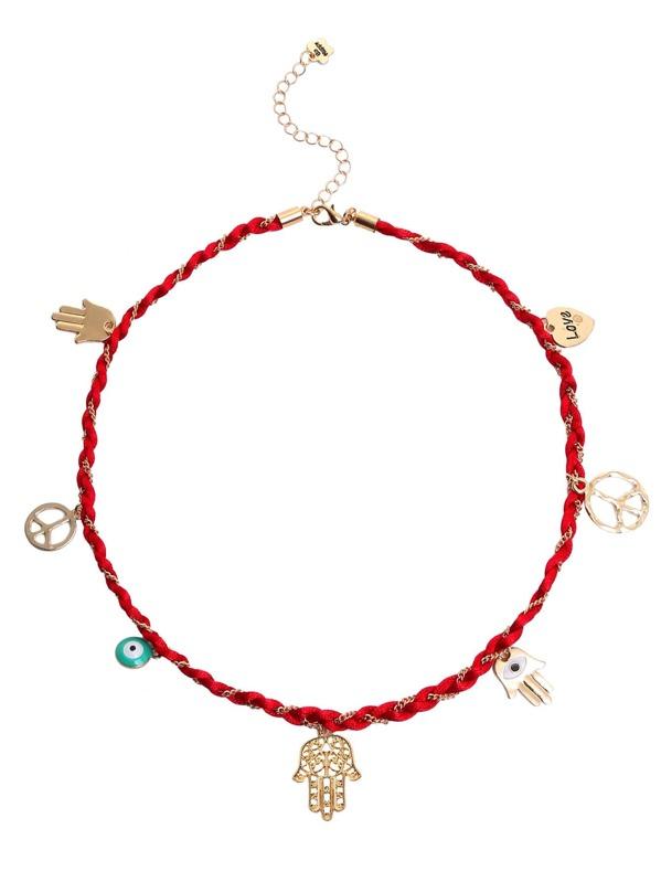 01a890ab44a9 Pulsera con cadena y adornos - rojo