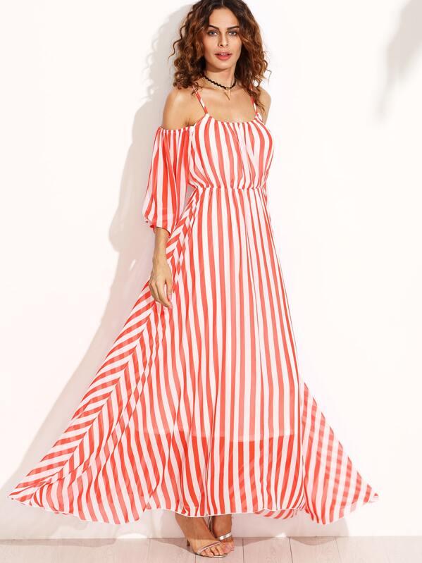 75d54dcc18b5e Vertical Striped Cold Shoulder Chiffon Dress -SheIn(Sheinside)