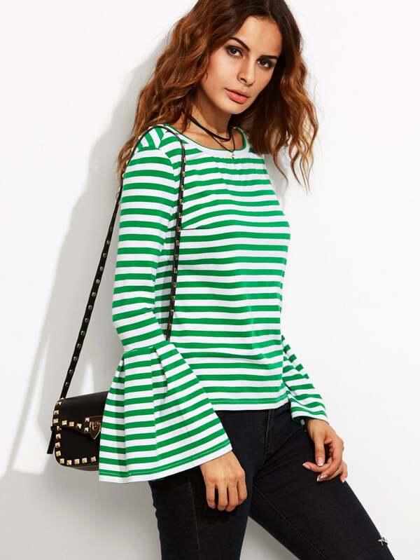 Camiseta a rayas manga acampanada - verde-Spanish SheIn(Sheinside)