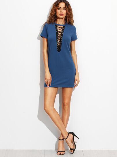 Royal Blue Lace Up Front Short Sleeve Sheath Dress -SheIn(Sheinside)
