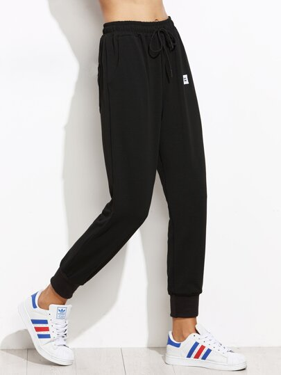 Drawstring Patch Peg Jogger Pants