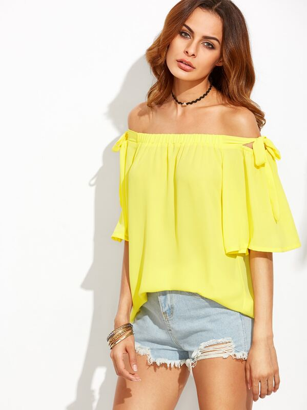 4ffe07a501a2 Yellow Off The Shoulder Bow Tie Blouse -SheIn(Sheinside)