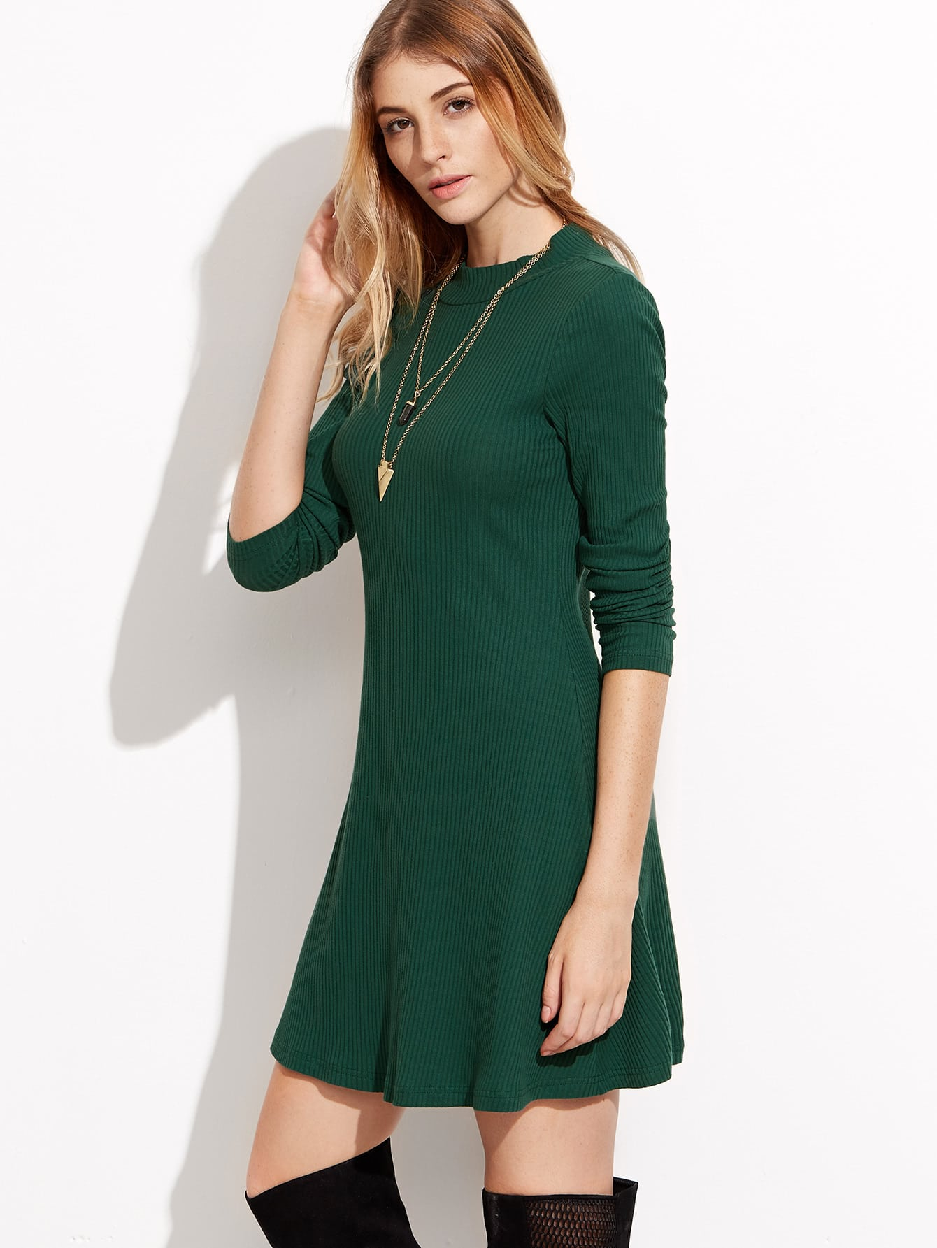 Green Long Sleeve Ribbed Skater Dress Shein Sheinside