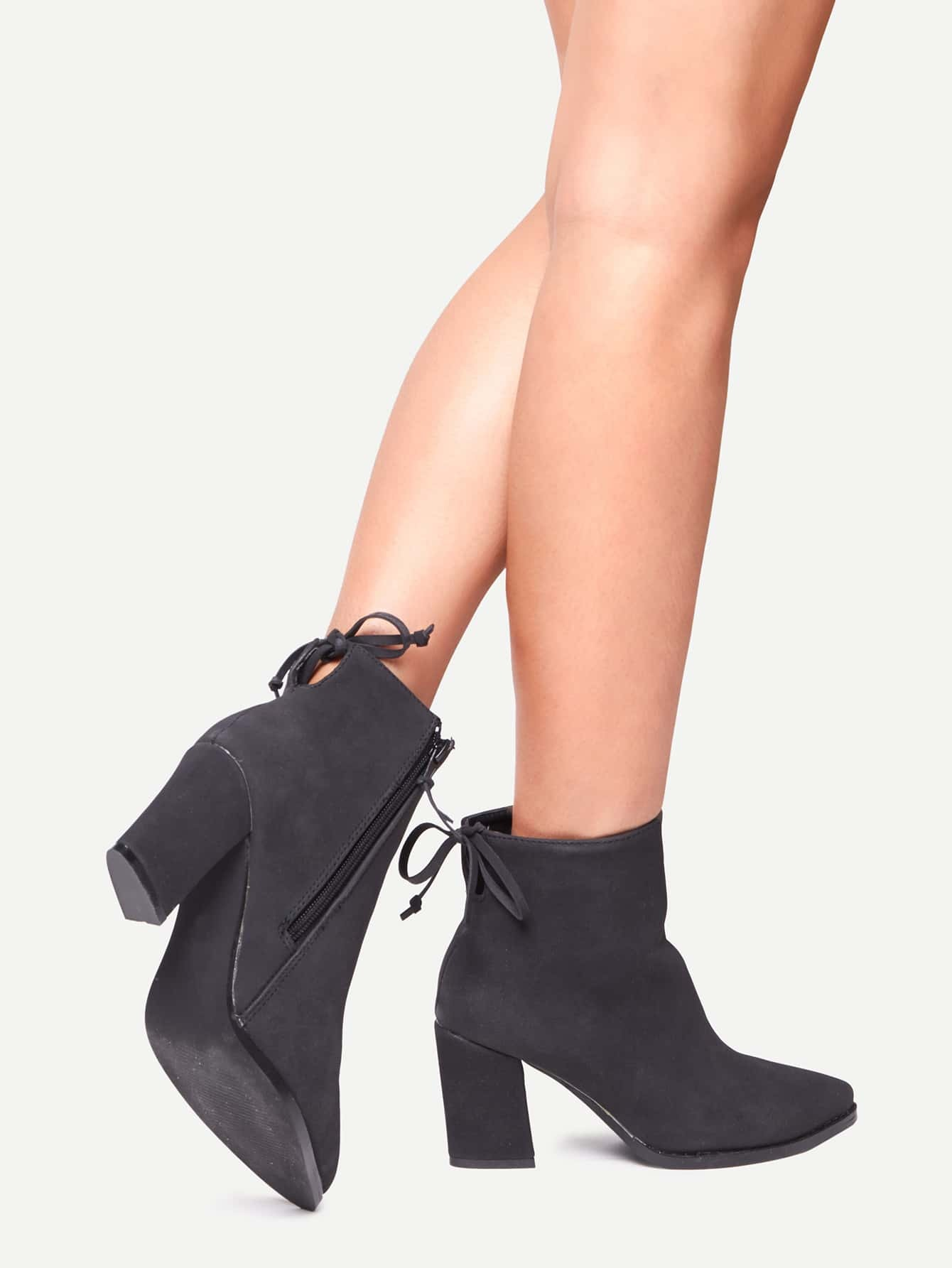 black pointed toe side zipper lace up back boots shein