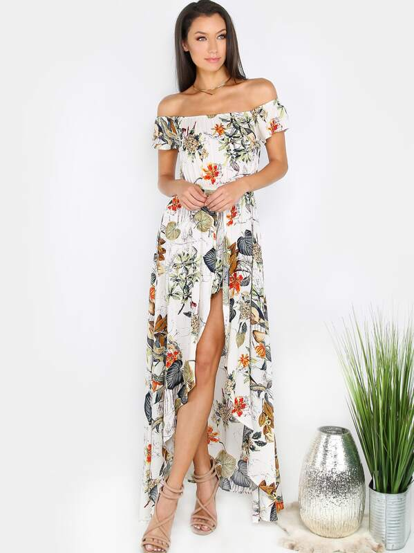 0479e146ca52 Tropical Off Shoulder Maxi Romper CREAM