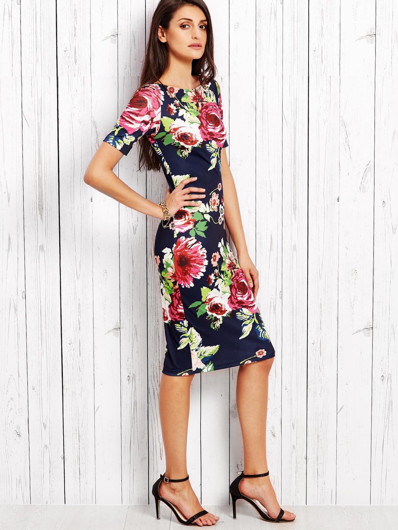 Navy Rose Print Slit Back Pencil Dress
