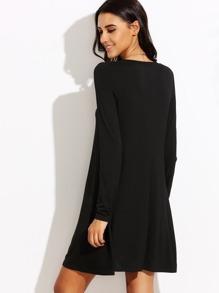 97e2d986f5049 Robe t-shirt manche longue - noir | SHEIN