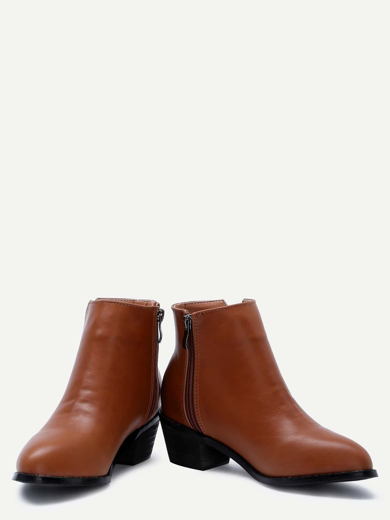 brown faux leather side zipper ankle boots shein sheinside