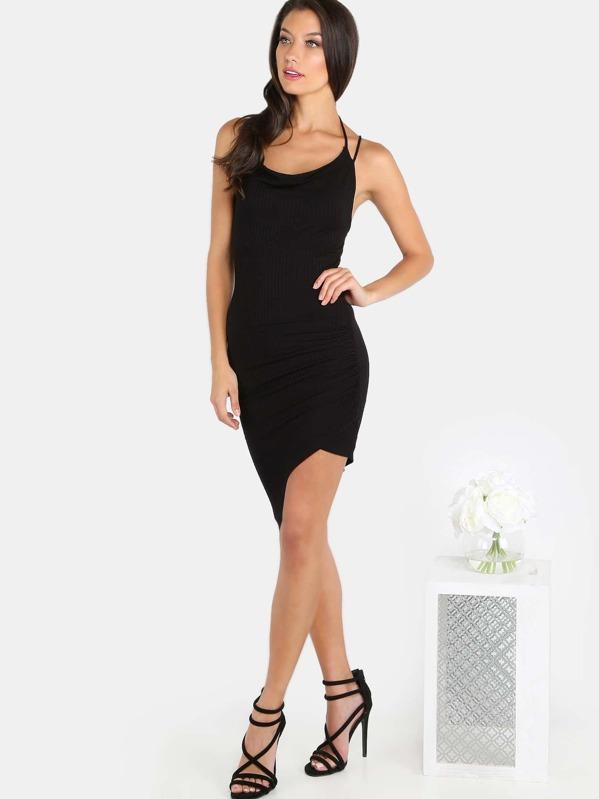d052560e35dc Asymmetrical Ribbed Mini Dress BLACK | SHEIN