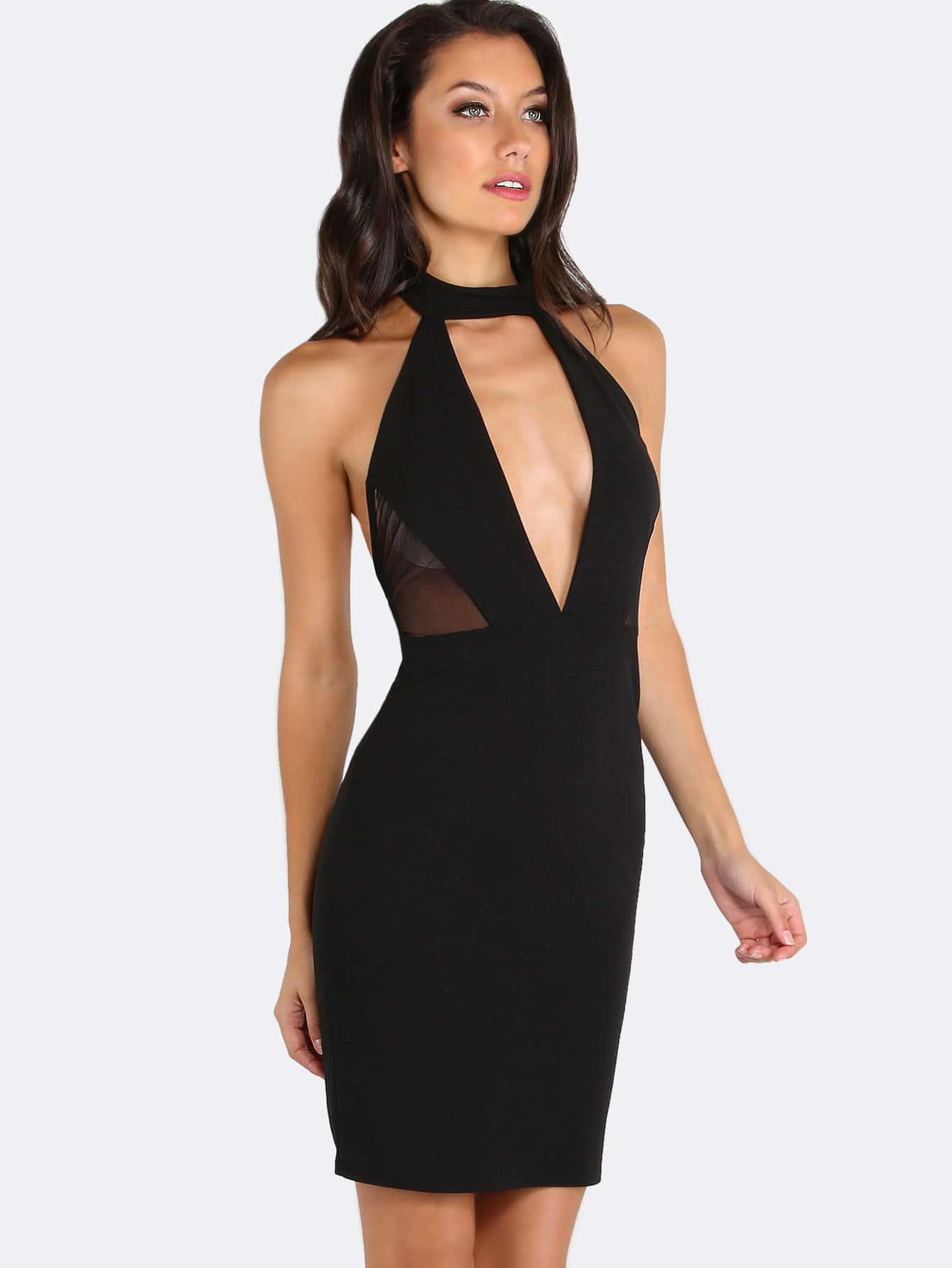 Choker Neck Bodycon Halter Dress Black Shein Sheinside