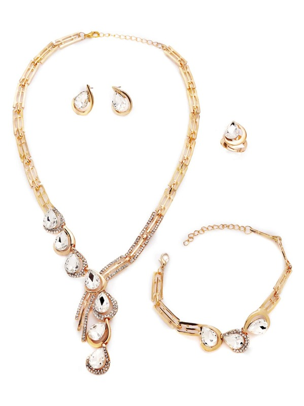 a8dadfcfa1 Luxury Gold Plated Rhinestone Water Drop Jewelry Set -SheIn(Sheinside)