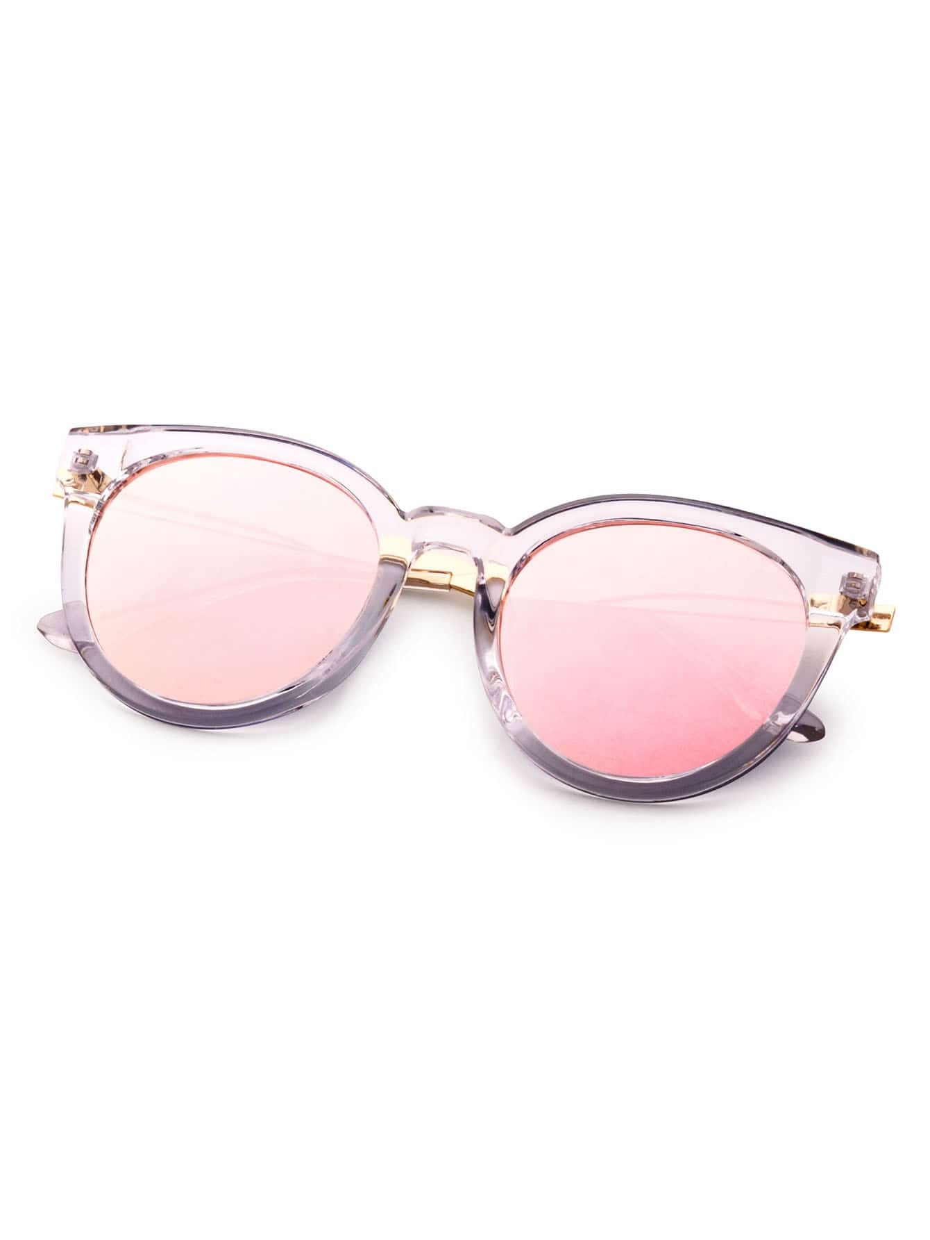 Pink Lens Clear Cat Eye Frame Sunglasses -SheIn(Sheinside)