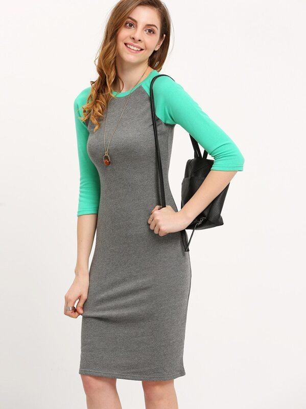 eac30a20d4 Grey Green Raglan Sleeve Midi Dress -SheIn(Sheinside)