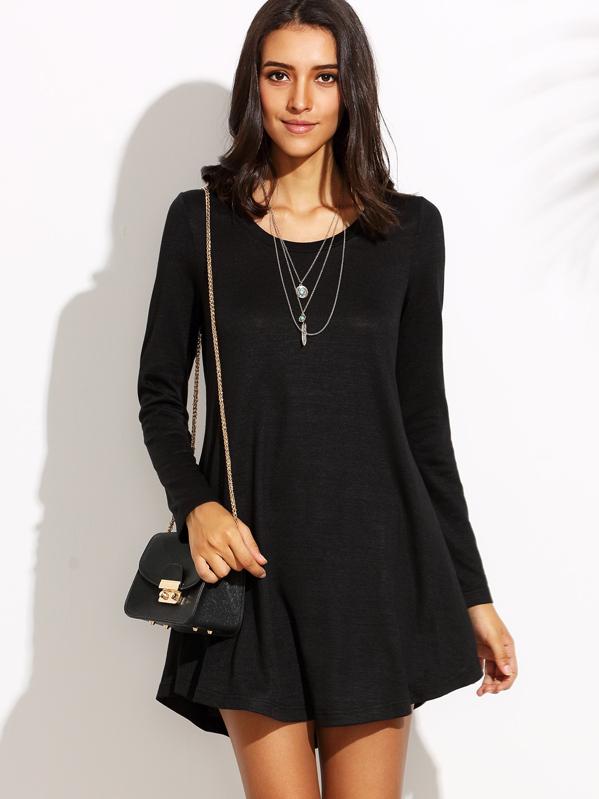 efadc60c9 Vestido escote redondo manga larga holgado - negro