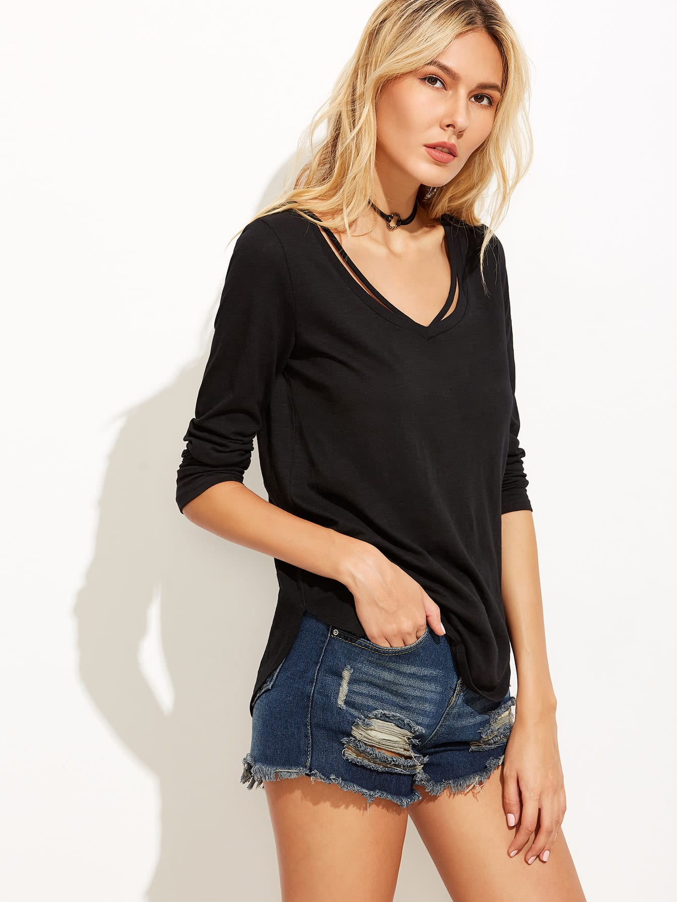 Black Strappy Curved Hem T-shirt