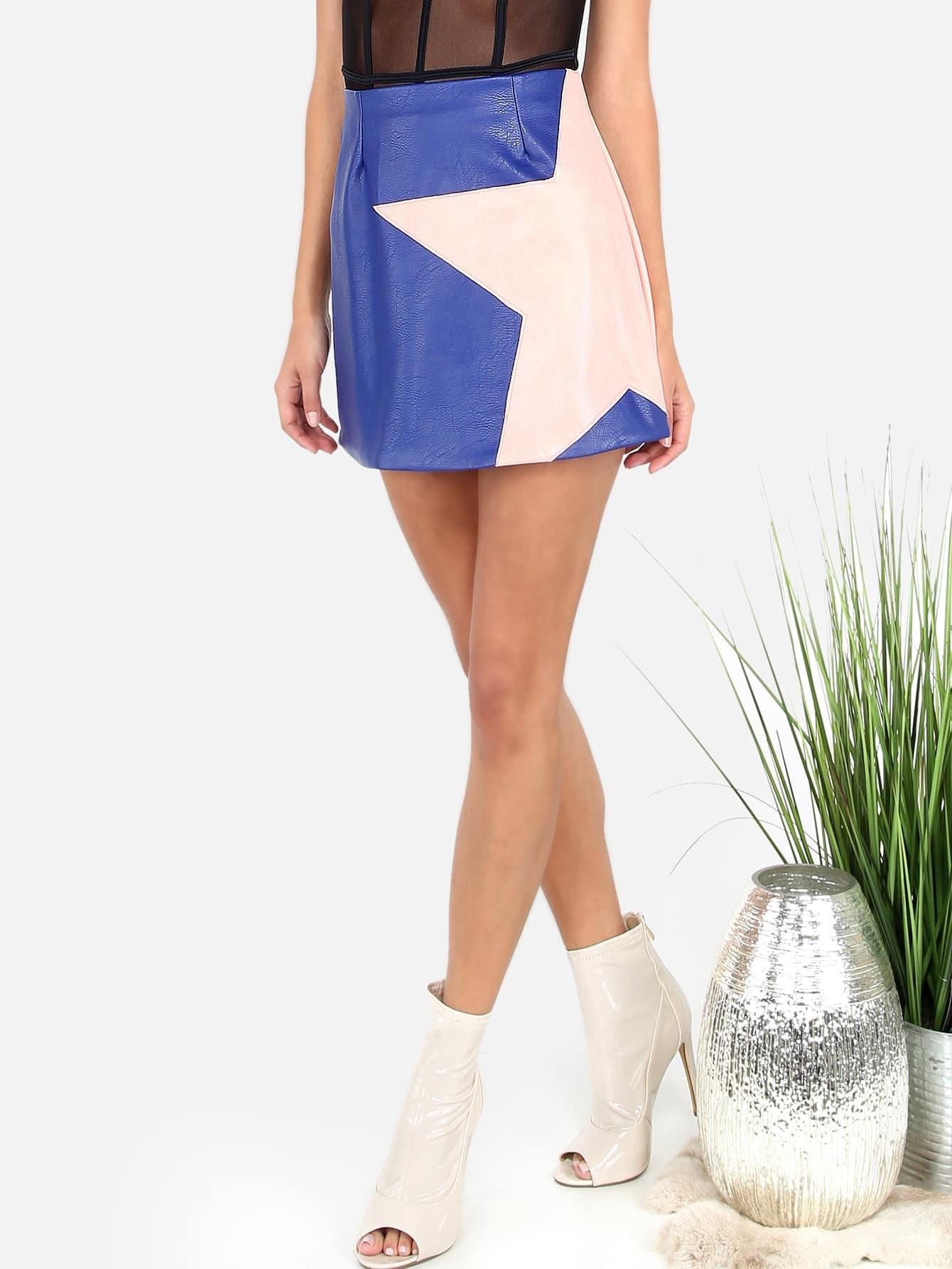 faux leather a line mini skirt royal blue shein