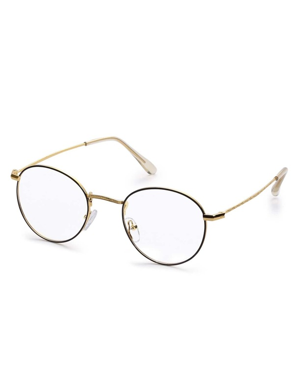 d6be09c867c Gold Metal Frame Round Clear Lens Glasses -SheIn(Sheinside)