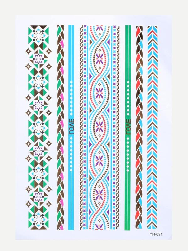 Multicolor Geometric Tattoo -SheIn(Sheinside) 10057258e0221