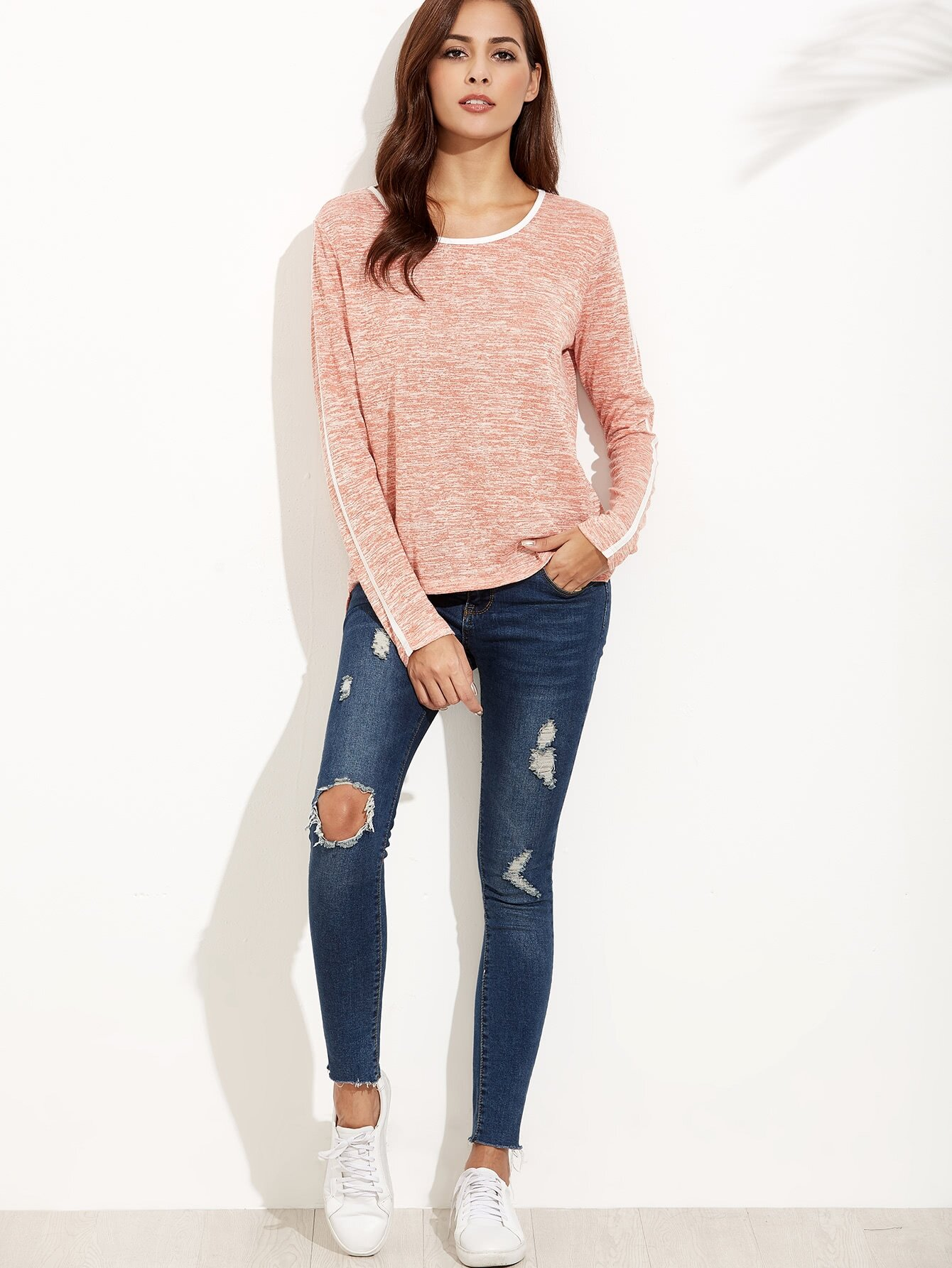 Pink Marled Knit Contrast Binding T-shirt