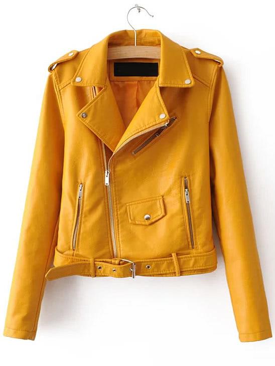 faux-leather-buckle-belt-epaulet-detail-moto-jacket by sheinside