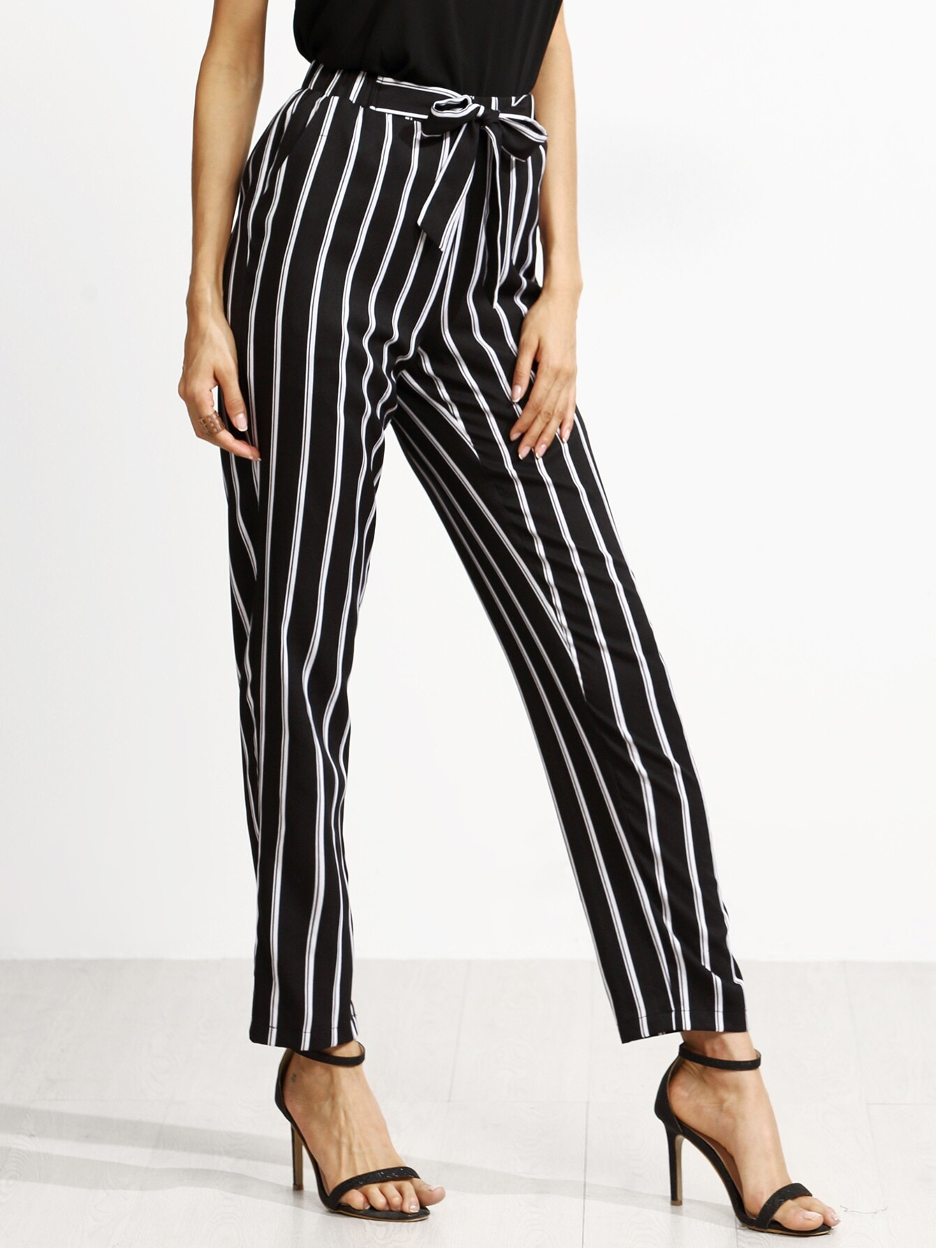 Black Vertical Striped Self Tie Pants -SheIn(Sheinside)