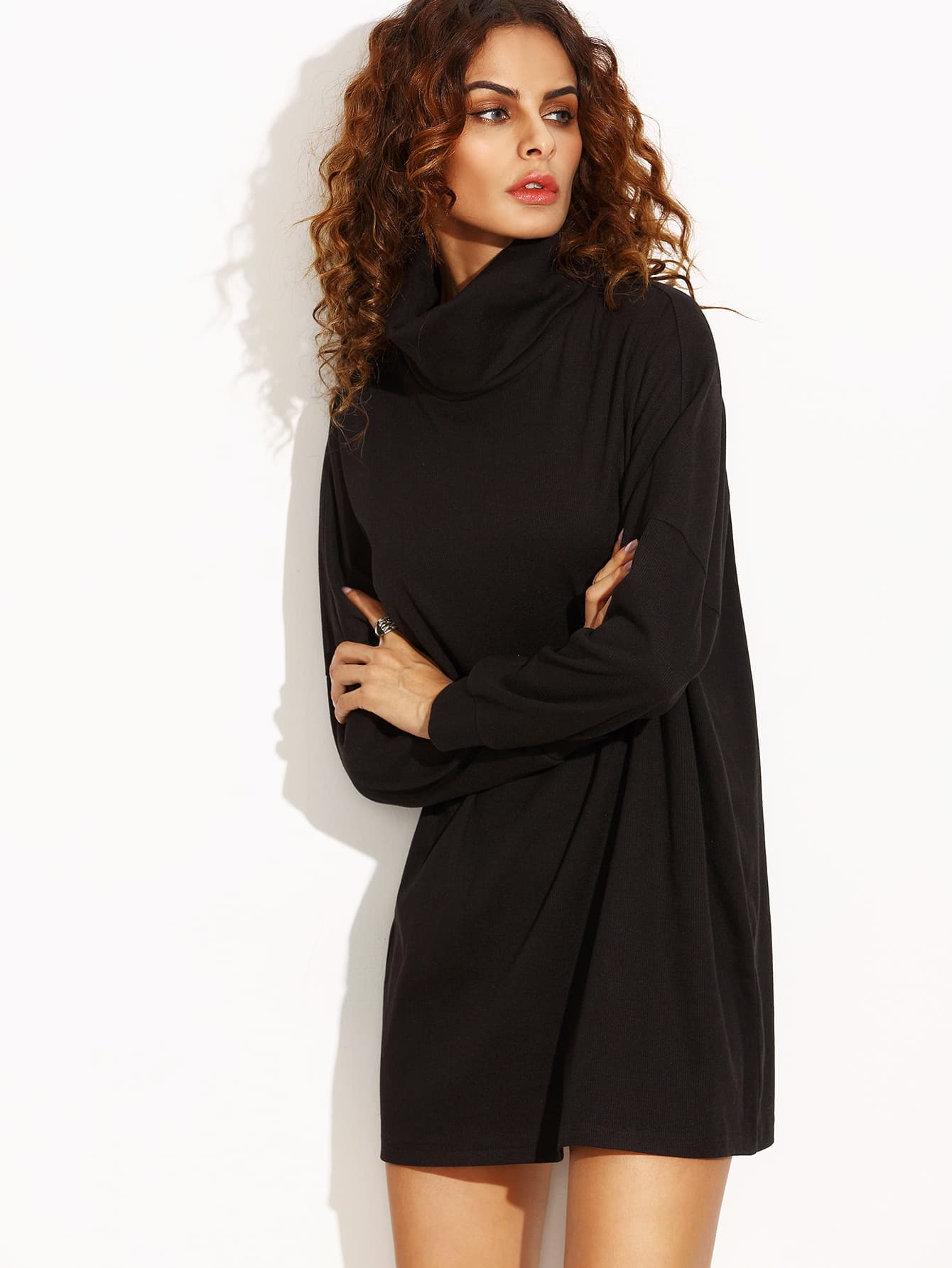 Black Turtleneck Drop Shoulder Dress