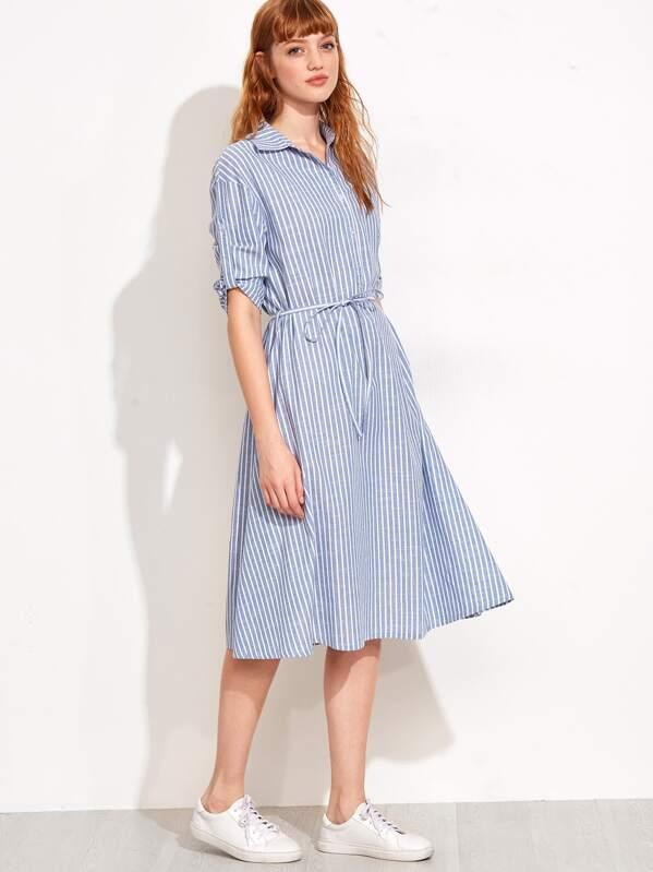 8f4a526a0480c Vertical Stripe Self Tie Shirtwaist Dress
