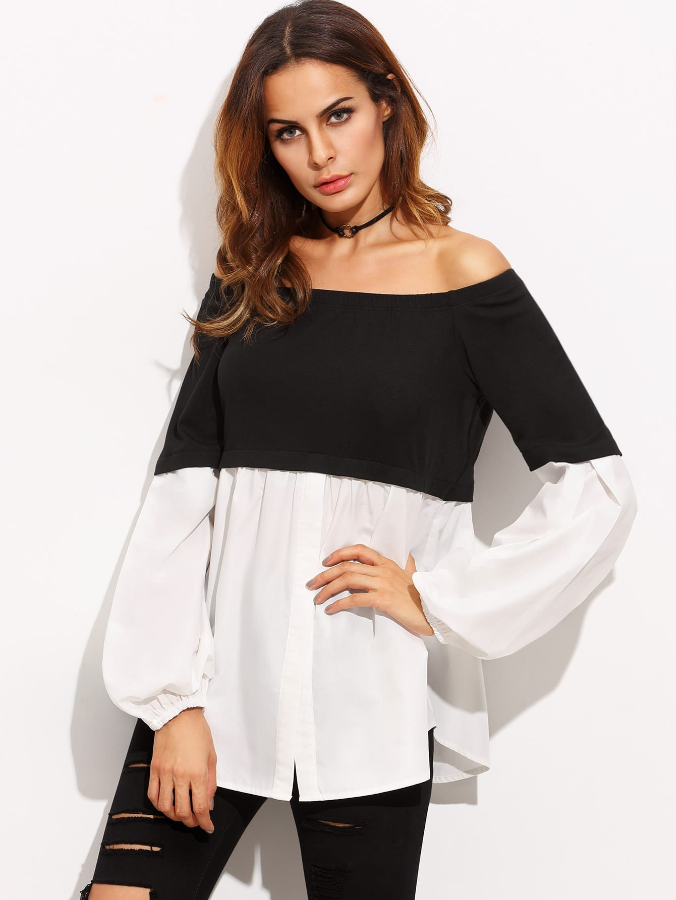 Color Block Off The Shoulder Long Sleeve Blouse