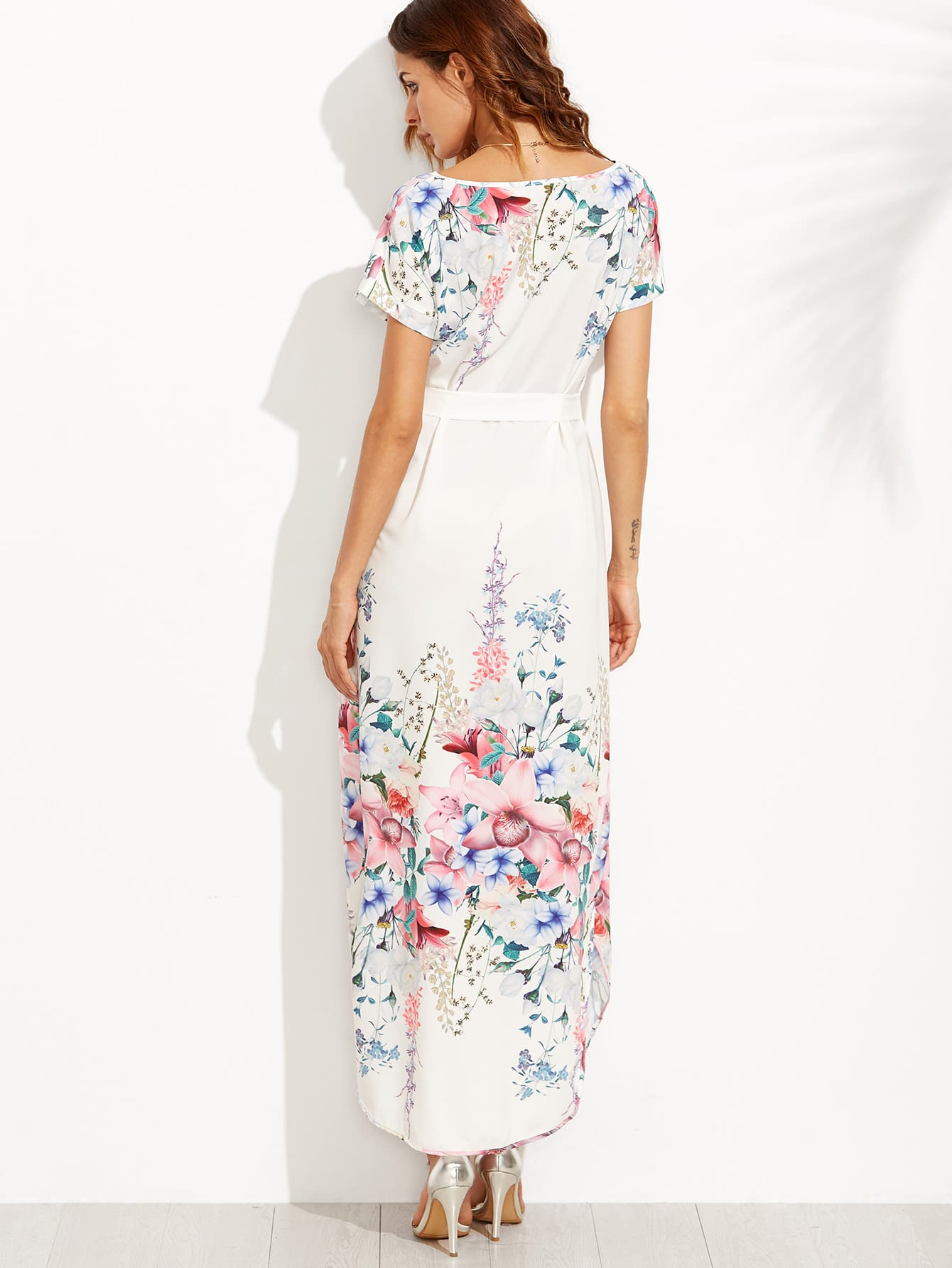 White Flower Print Belted Side Slit Dress