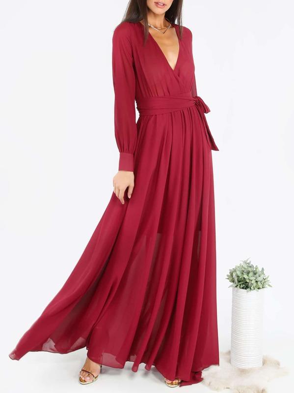 59f399f3 Self Tie Wrap Flowy Maxi Dress | SHEIN UK