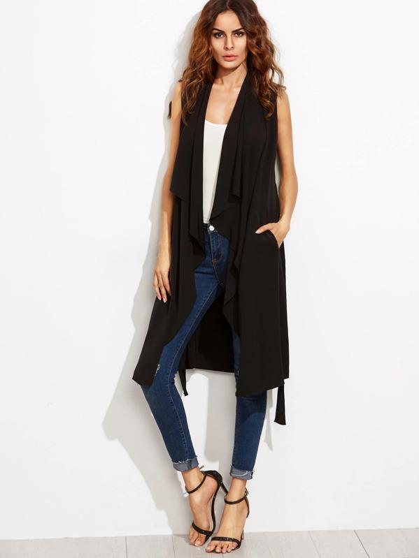 696c31c0264308 Cheap Black Waterfall Collar Long Wrap Vest for sale Australia