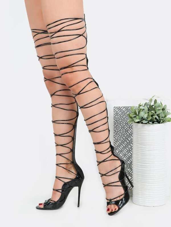 2f78ab3b49d9 Lace Up Snake Thigh High Heels BLACK -SheIn(Sheinside)