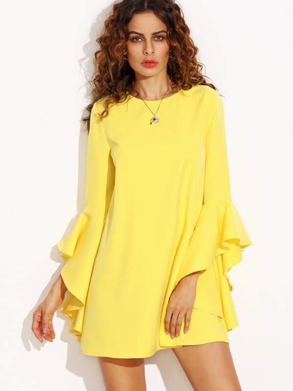 ad76034667d47 Yellow Crew Neck Ruffle Sleeve Shift Dress | SHEIN