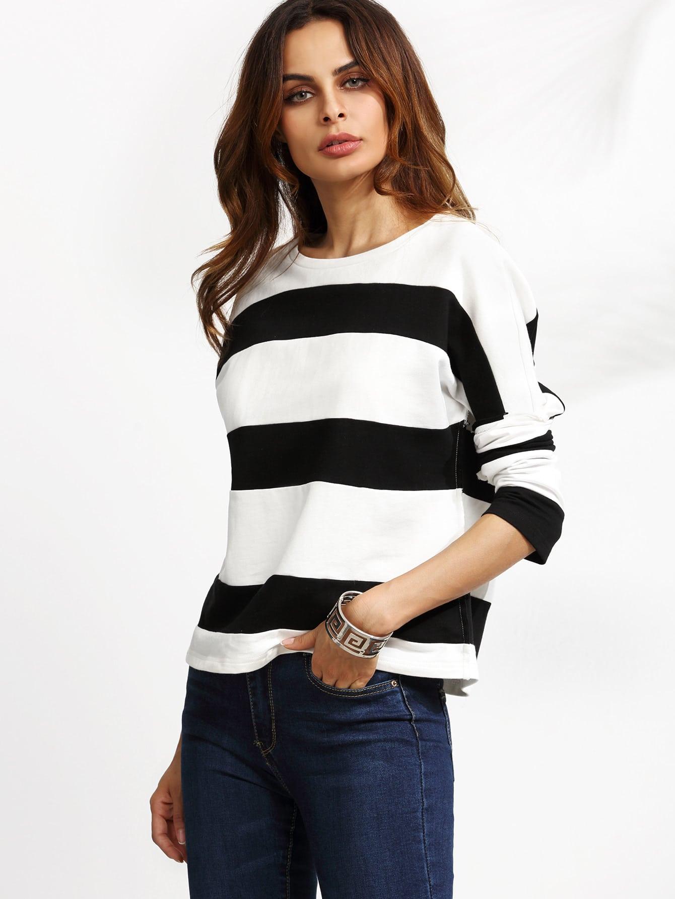 Contrast Wide Stripe Drop Shoulder T Shirt Shein Sheinside
